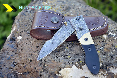 "HUNTEX Handmade Damascus 4.3"" Long Sheep Foot Hunting Folding Pocket Knife"