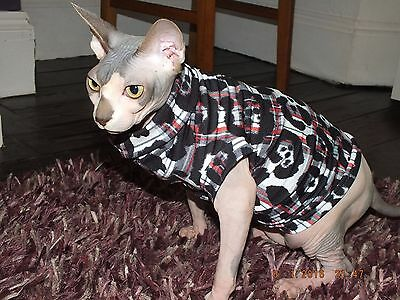 Funky black Vest for Sphynx Cat - Hand Made by Sphynx Clothes – for Cats & Dogs