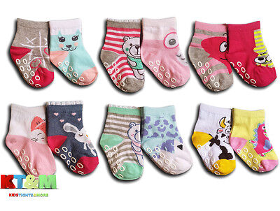 New Baby Girl ABS Anti Non Slip Cotton Socks 2 Pairs Size 12 months to 3 years