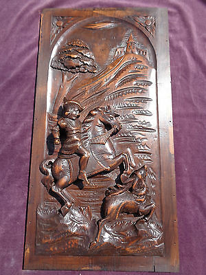 antique french carved wood panel. deer hunting