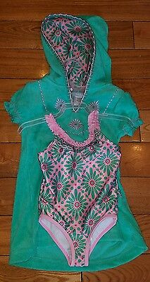 NEW Girls Green/Pink CABANA BEACH Swimsuit and Cover Size 2T