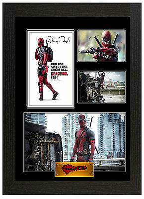 Deadpool Ryan Reynolds - A3 Signed Framed Collectors Display Picture