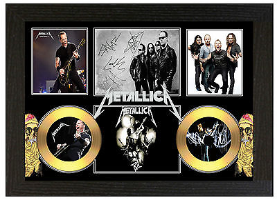 Metallica - A3 Signed Framed Gold Vinyl Collectors Cd Display Picture