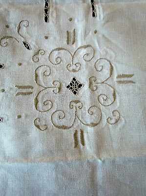 Antique Italian Country Heavy Hand woven Linen Tablecloth Reticella needle lace
