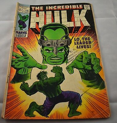 Marvel Comics THE INCREDIBLE HULK Issue 115, fine, The Leader Lives!