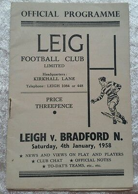 Leigh v Bradford Northern Saturday 4th January 1958 Rugby League Programme