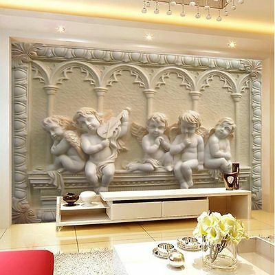 3D Modern Luxury Embossed Angel Wallpaper Mural Roll Bedroom Wall TV Background