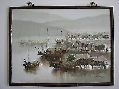 "Signed F.C. CHEUNG Original OIL on CANVAS PAINTING Framed JUNK BOAT 24""x18"""