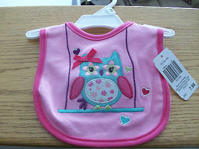 New with Tags Baby Starter One Size Pink Owl Bib