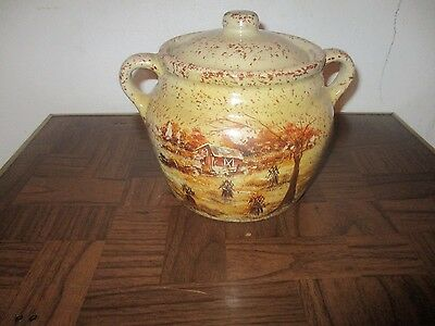 Vintage Collectible Monmouth Pottery Cookie Jar-Farm Scene-Exc. con.