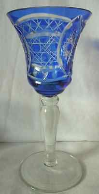 Beautiful Blue Bohemian Crystal, Cut to Clear Bell Shaped Wine Glass #1