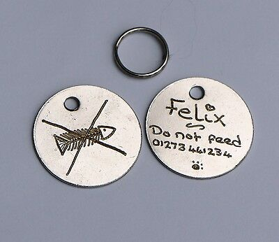 Do Not Feed Cat Id Tag - 20Mm Hand Engraved Pet Tag