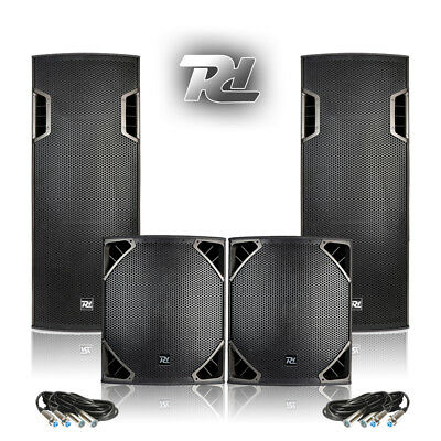 "PA System Setup DJ Club Install Twin Cone 15 Speakers 15"" SubWoofers 1800W Power"