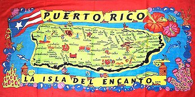 Puerto Rico Rican 30 x 60 INCHS Beach Towel (Cotton Twill) BORICUA ISLAND CITY 2