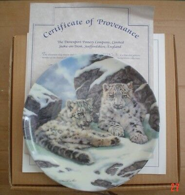 Davenport Collectors Plate SNOW LEOPARD CUBS From YOUNG SURVIVORS COLLECTION