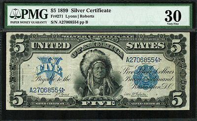1899 $5 Silver Certificate - Indian Chief - FR-271 - Graded PMG 30 - Very Fine