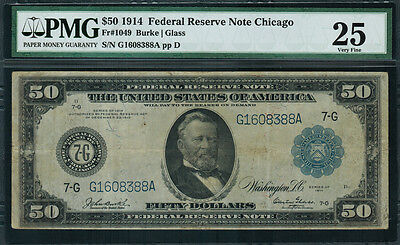 1914 $50 Federal Reserve Note Chicago FR-1049 - PMG 25 - Very Fine