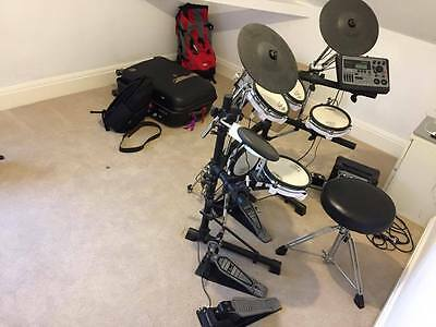 Roland TD-8 V-Drum drum kit with Pearl double bass pedal and Pearl stool