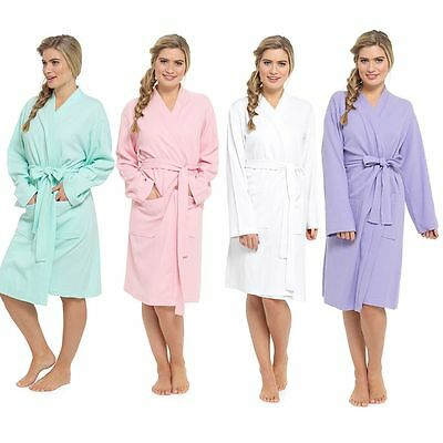 Ladies/Womens Plain Colours 100% Cotton Summer Waffle Bath Robe / Dressing Gown