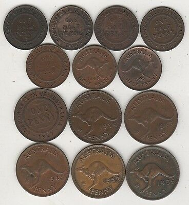 Australia Lot 13 Coins 1/2 And 1 Penny 1912 - 1955
