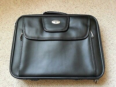 "Antler 17"" laptop bag case organiser messanger bag Black leather new"