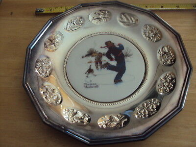 Norman Rockwell Christmas Plates - Gorham Silver, 1980 Limited Edition 2pcs