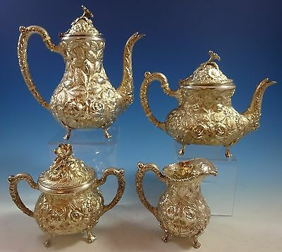 Rose by Stieff Sterling Silver Tea Set 4pc Hand Chased #700 (#1467)