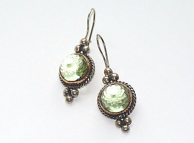 Byzantine Antique style  Sterling Silver 925 and Bronze earrings green topaz