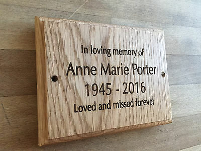 Solid Oak Wood Memorial Plaque -Grave Marker Personalised to requirement