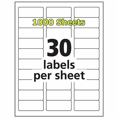 1 x 2 5/8 30000 Address Blank Label Laser Ink Jet Compatible Word 5160 2.625 x 1