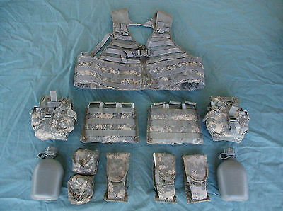 Molle FLC ACU Fighting Load Carrier Vest and Pouches / Used