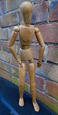 """Vintage Articulated Wood ARTIST'S MANNEQUIN Jointed Lay Figure 16.5"""""""