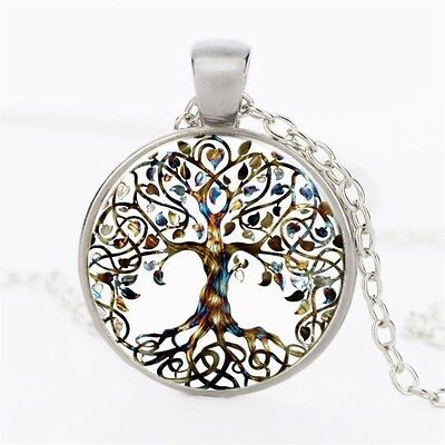 Lovely Silver Color TREE Of LIFE Glass Cabochon Pendant Chain Necklace Gift UK