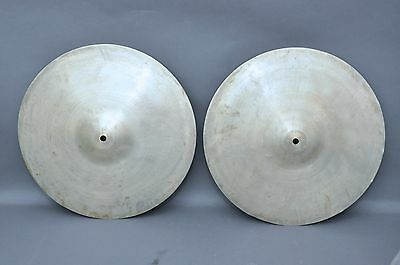 "Vintage 1960s BEVERLEY 14"" Crash Cymbals Hi & Lo Hats Made in England"