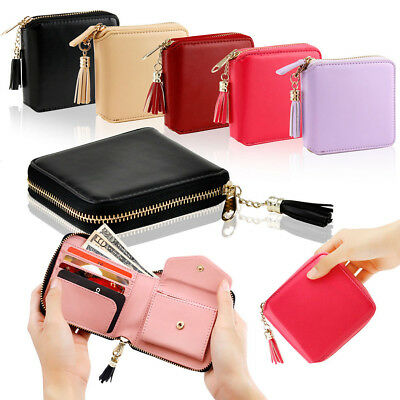 Women Leather Small Wallet Card Holder Zip Coin Purse Clutch Handbag USWarehouse