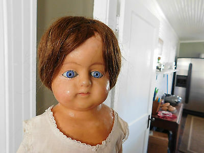 "Antique 24"" Wax over Composition Glass Eyed Doll Original Wig Home Made Clothes"