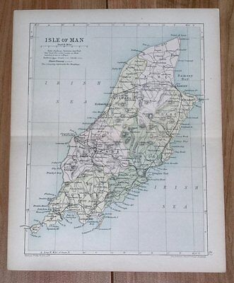 1898 Original Antique Map Of Isle Of Man / Mann / Peel Ramsey Douglas Castletown