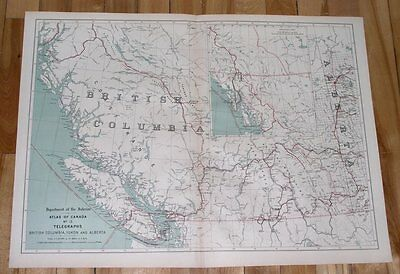 1906 Map Of British Columbia Alberta Telegraphs / Canada