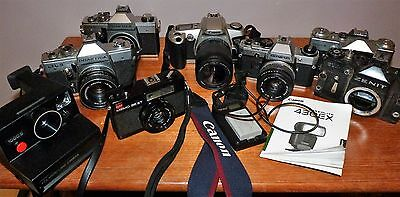 Job Lot / Collection Of Various Slr Cameras & Lenses -  For Spares Or Repair
