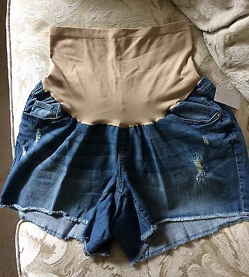 Oh Baby By Motherhood Maternity Denim Jean Shorts Plus Size 2X NWT Frayed
