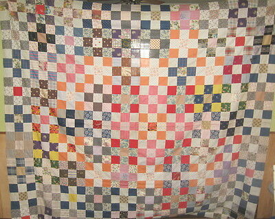 Beautiful vintage quilt top hand pieced 85 x 76 cotton