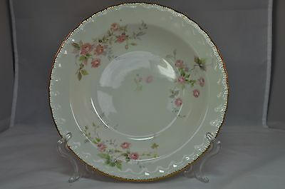 Pope & Osser Florence Pink Roses Scalloped Embossed Gold Rim Cereal Soup Bowls