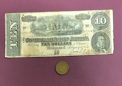 1864 $10 Confederate States Of America & A Civil War Dated Coin