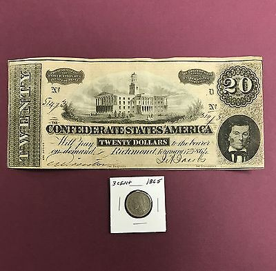 1864 $20 Confederate States Of America Note & With A Civil War Dated Coin
