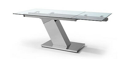 Whiteline Ultra Modern Stainless Steel & Glass Executive Desk Or Conference T...
