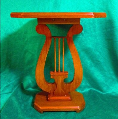 Vintage Lyre Harp Wooden Music Side Table / Stand