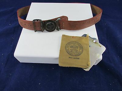 Vintage  Boy Scout  Brown Leather Belt  and reflecting mirror