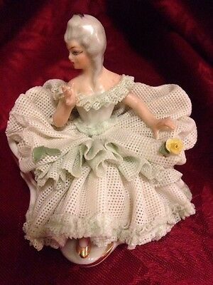Sandizell Dresden Porcelain Lace Figurine Seated Lady In Green Dress