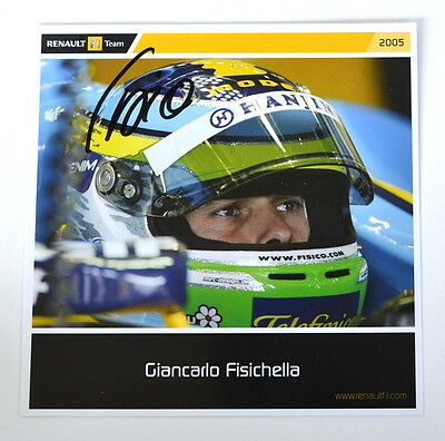 Renault official card with Giancarlo Fisichella original autograph