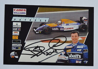 Williams Renault official photocard with Riccardo Patrese original autograph